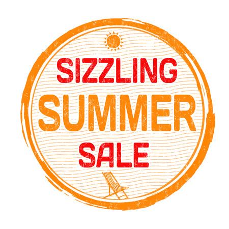 Sizzling summer sale grunge rubber stamp on white background, vector illustration