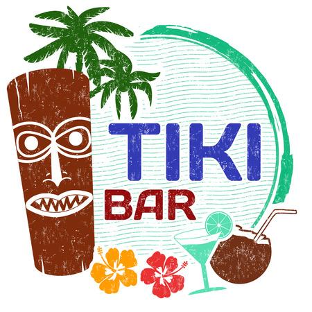 tiki party: Tiki Bar grunge rubber stamp on white background, vector illustration