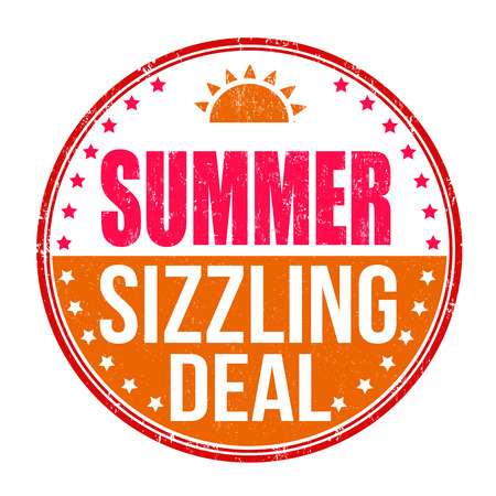 sizzling: Sizzling summer deal grunge rubber stamp on white background, vector illustration Illustration