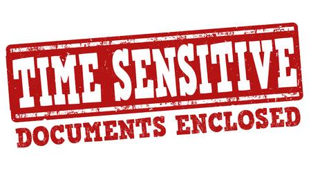 sensitive: Time sensitive grunge rubber stamp on white background, vector illustration