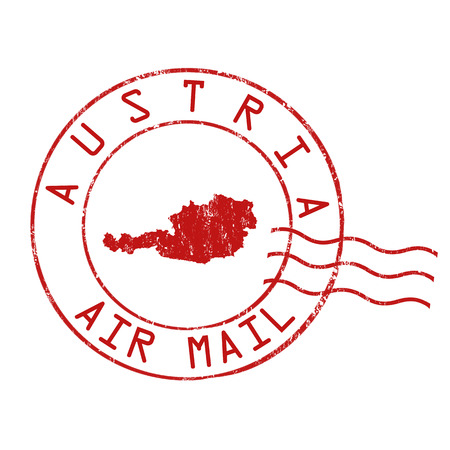grungy email: Austria post office, air mail, grunge rubber stamp on white background, vector illustration