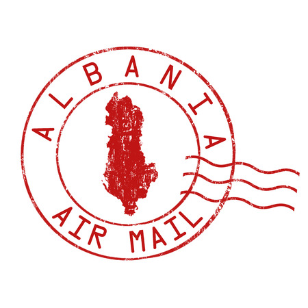 grungy email: Albania post office, air mail, grunge rubber stamp on white background, vector illustration Illustration