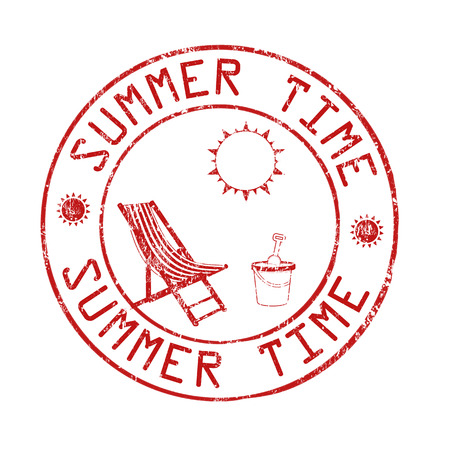 post office: Summer time post office grunge rubber stamp on white background, vector illustration Vectores
