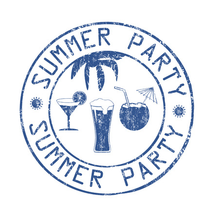 office party: Summer party post office grunge rubber stamp on white background, vector illustration