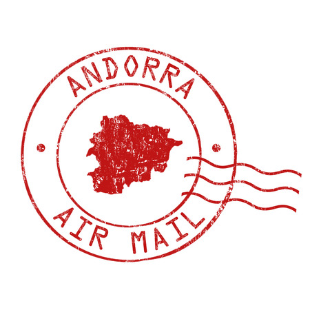 grungy email: Andorra post office, air mail, grunge rubber stamp on white background, vector illustration Illustration
