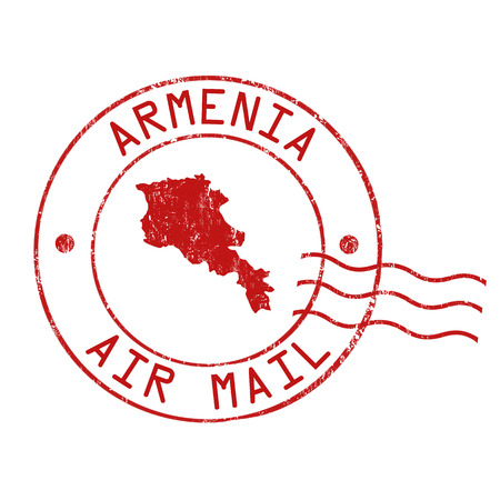 post office: Oficina Armenia post, el correo a�reo, sello de goma del grunge en el fondo blanco, ilustraci�n vectorial