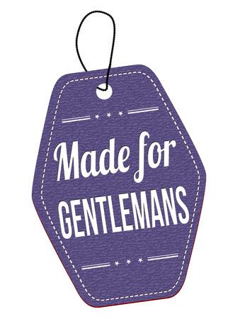 leather label: Made for gentlemans blue leather label or price tag on white background, vector illustration Illustration