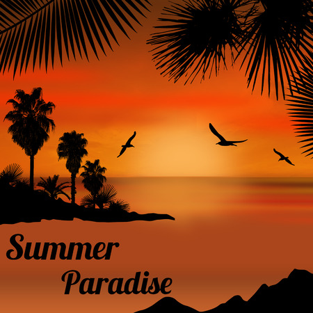 tropical sunset: Summer paradise poster at tropical sunset, vector illustration