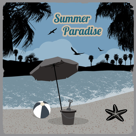 paradise place: Summer paradise poster at tropical place in blue, vector illustration