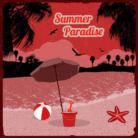 paradise place: Summer paradise poster at tropical place in red, vector illustration Illustration