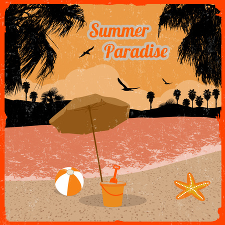 paradise place: Summer paradise poster at tropical place in orange, vector illustration