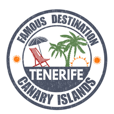 destinations: Famous destinations, Tenerife grunge rubber stamp on white, vector illustration