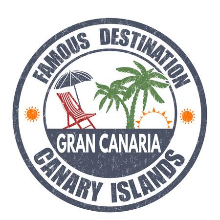 destinos: Destinos famosos, Gran Canaria grunge sello de goma en blanco, ilustraci�n vectorial Vectores