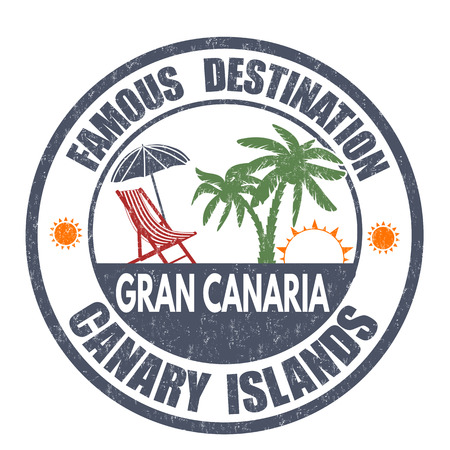 gran: Famous destinations, Gran Canaria grunge rubber stamp on white, vector illustration