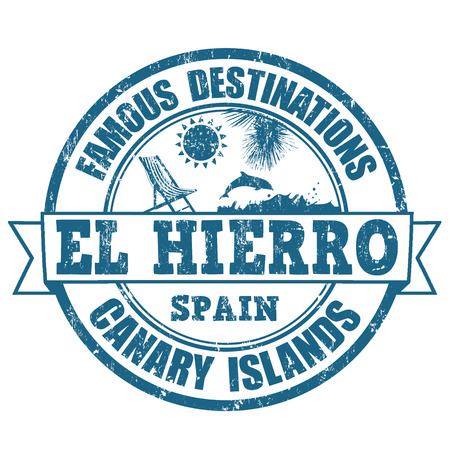 destinations: Famous destinations, El Hierro grunge rubber stamp on white, vector illustration