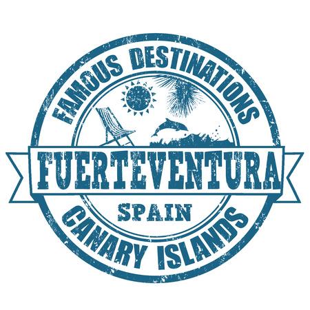 destinations: Famous destinations, Fuerteventura grunge rubber stamp on white, vector illustration