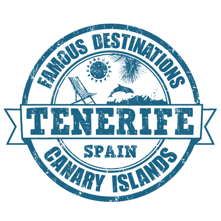 Famous destinations, Tenerife grunge rubber stamp on white, vector illustration