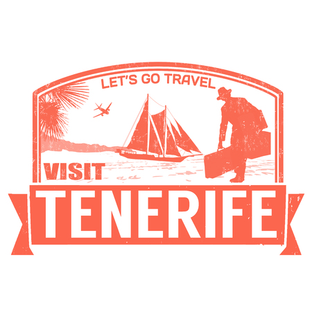Visit Tenerife island grunge rubber stamp on white, vector illustration Vector
