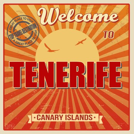 canary islands: Vintage Touristic Welcome Card - Tenerife, Canary Islands, vector illustration Illustration