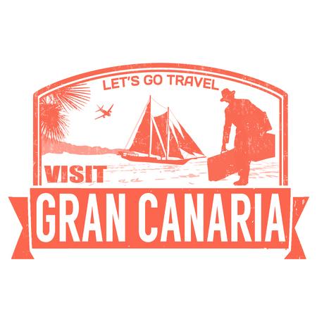 gran: Visit Gran Canaria island grunge rubber stamp on white, vector illustration