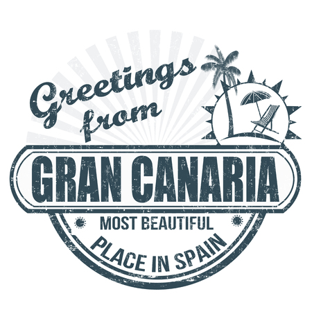 gran: Grunge rubber stamp with text Greetings from Gran Canaria most beautiful place in Spain, vector illustration