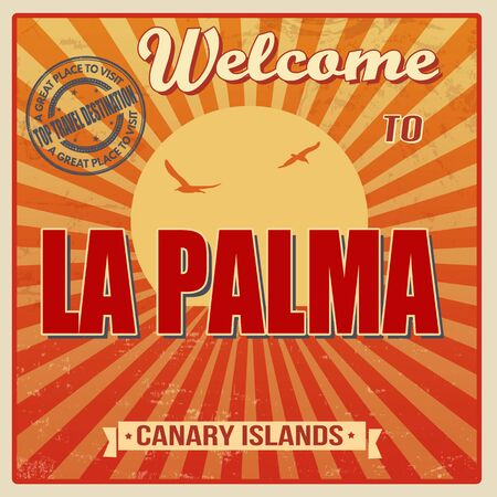 canary islands: Vintage Touristic Welcome Card - La Palma, Canary Islands, vector illustration Illustration