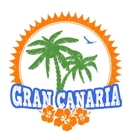 gran: Gran Canaria travel rubber stamp on white background, vector illustration