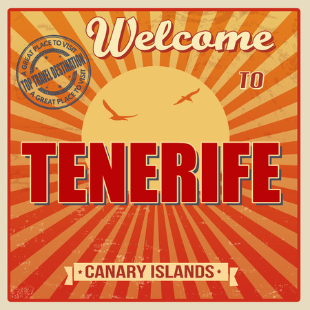 canary: Vintage Touristic Welcome Card - Tenerife, Canary Islands, vector illustration Stock Photo