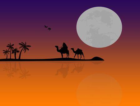Bedouin camel caravan in wild africa landscape near water on sunset photo