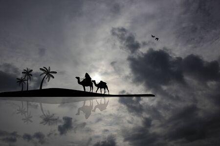 Bedouin camel caravan on cloudy landscape near water photo