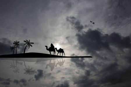 bedouin: Bedouin camel caravan on cloudy landscape near water Stock Photo