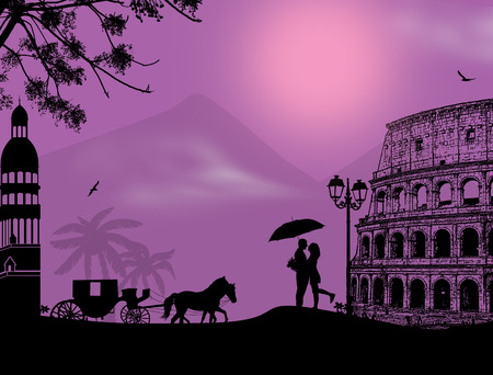 woo: Carriage and couple silhouette in love in front of Colosseum in Rome