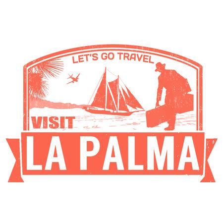 let s: Visit La Palma island grunge rubber stamp on white, vector illustration