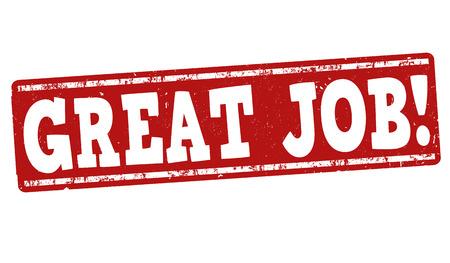 job: Gran sello de goma del grunge de trabajo sobre fondo blanco, ilustración vectorial