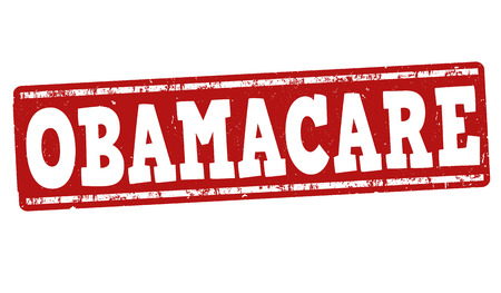 tax policy: Obamacare grunge rubber stamp on white background, vector illustration