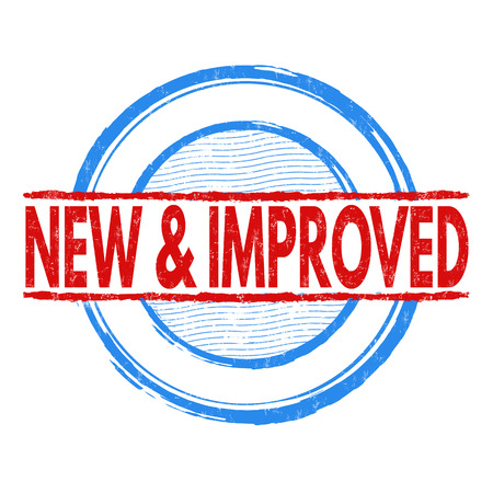 new and improved: New and improved grunge rubber stamp on white background, vector illustration