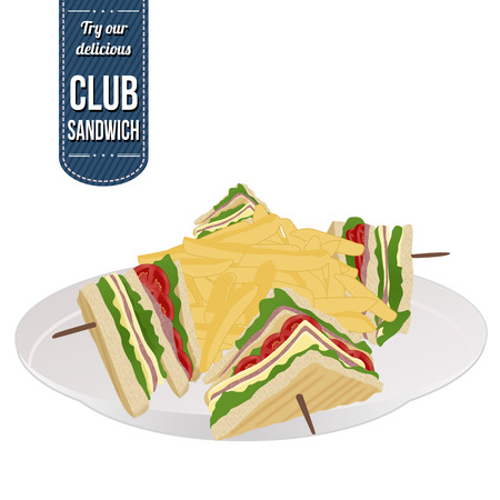 toasted sandwich: Club sandwich and french fries on white background, vector illustration