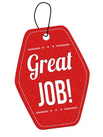 job: Etiqueta de cuero roja Gran trabajo o etiqueta de precio sobre fondo blanco, ilustración vectorial Vectores