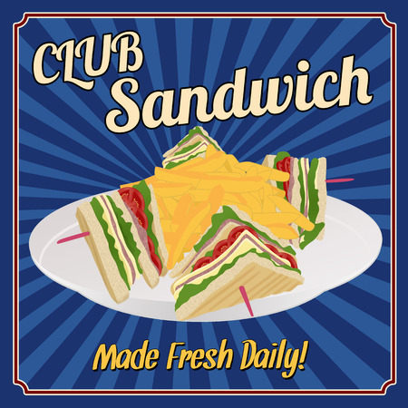 クラブ サンドイッチ ヴィンテージスタイル、ベクター グラフィックのレトロなポスター