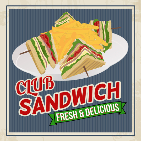 Club Sandwich retro poster in vintage stijl, vector illustratie Stock Illustratie