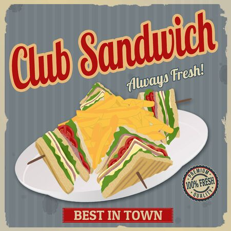 toasted sandwich: Club Sandwich retro poster in vintage style, vector illustration Illustration