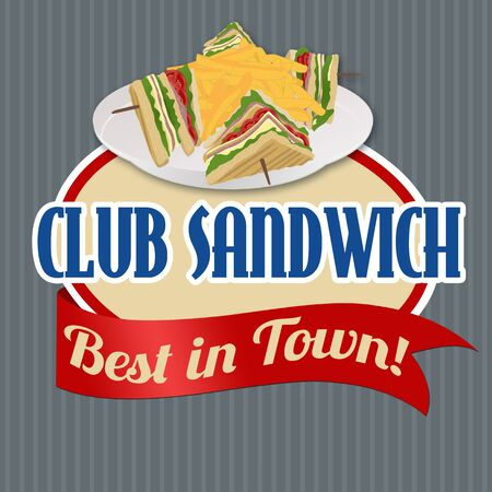 toasted: Club Sandwich sticker or label on vintage poster, vector illustration