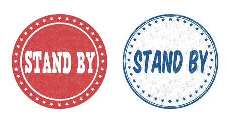 unfinished: Stand by grunge rubber stamps on white, vector illustration Illustration