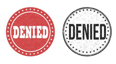 denied: Sellos de goma del grunge Denied en blanco, ilustraci�n vectorial