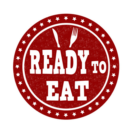 ready to eat: Ready to eat grunge rubber stamp on white, vector illustration