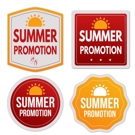 Summer promotion stickers set on white background, vector illustration Illustration