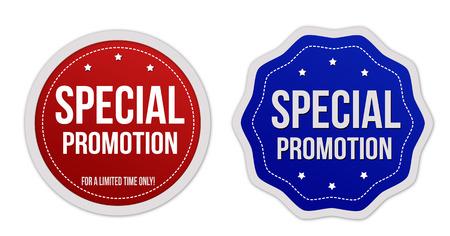 Pegatinas de promoción especiales establecidos en el fondo blanco, ilustración vectorial Foto de archivo - 40924887