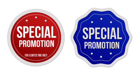 Special promotion stickers set on white background, vector illustration