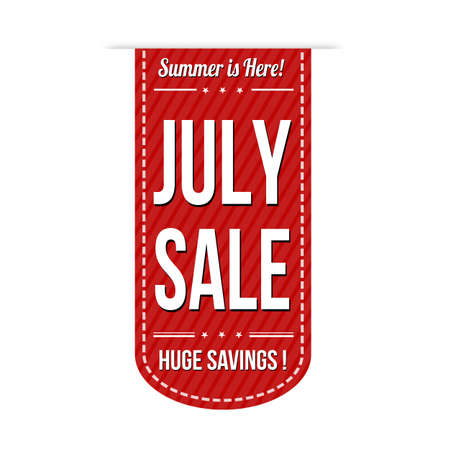 advertised: July sale banner design over a white background, vector illustration