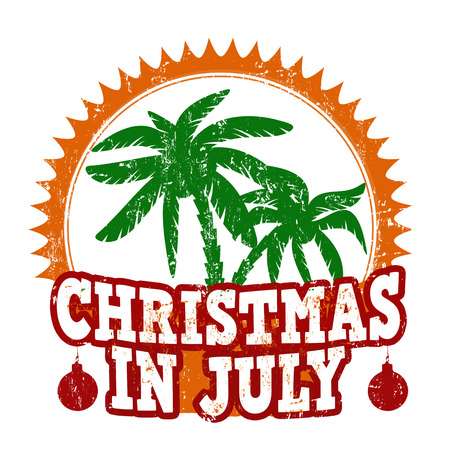 Christmas in july grunge rubber stamp on white, vector illustration